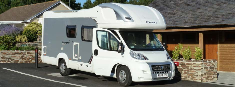 motorhome parked up to use the service point