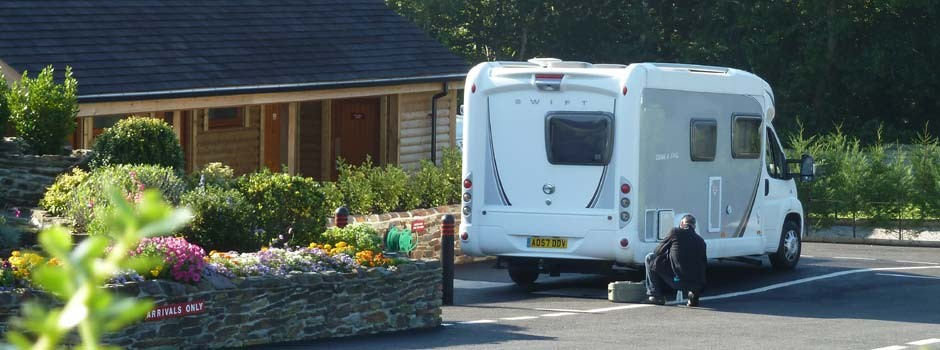motorhome parked up using the service point