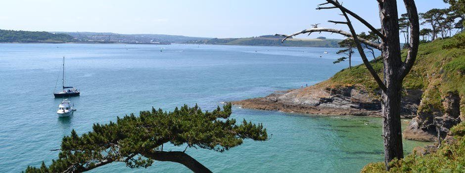 looking across the Carrick roads towards Falmouth from St Anthony's headland