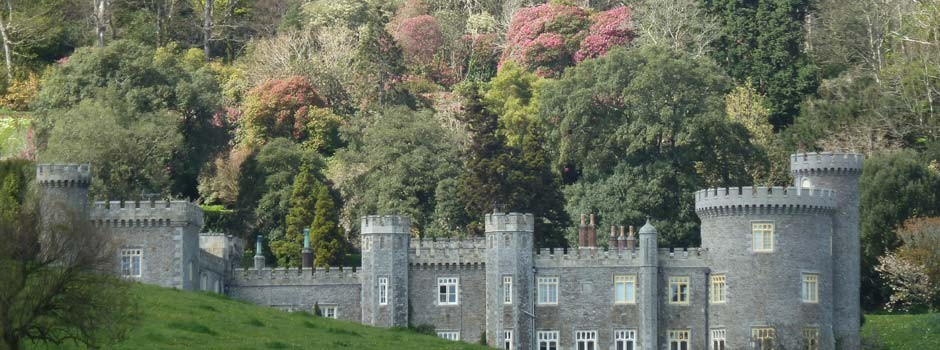outside view of Caerhays castle near Mevagissey