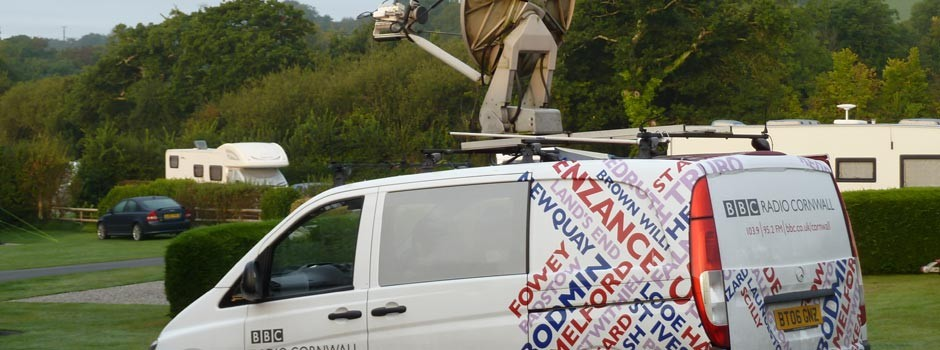 radio Cornwall van on the Park for a live broadcast