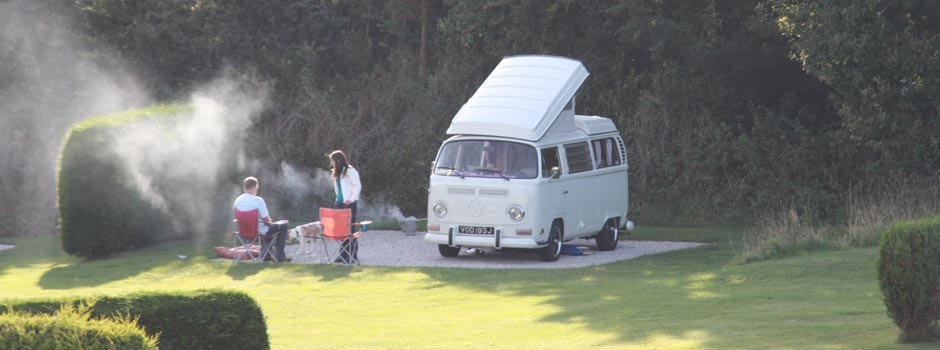 couple and dog sat having a BBQ outside a VW camper on pitch 22