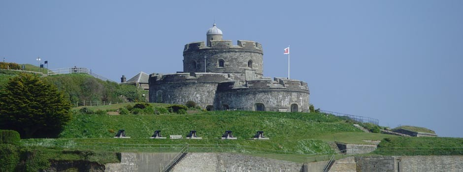 St Mawes castle with flag flying