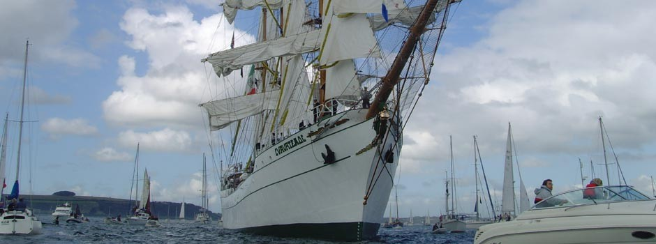 close up of a tall ship taken from the water in Falmouth bay